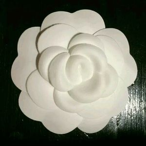 Authentic CHANEL  Camille White Fabric Flower